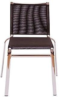 Klen Silla apilable metálica cromada asiento malla negra para cocina , comedor, balcón , terraza interior. 1 unidad