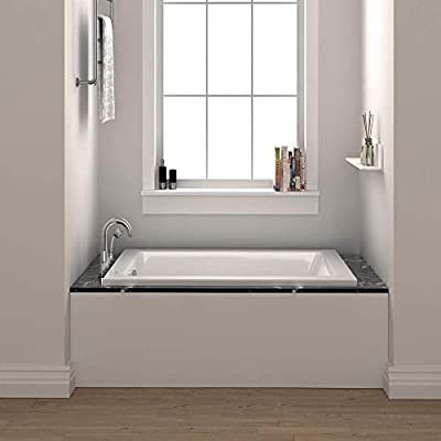 "Fine Fixtures Drop In White Soaking Bathtub, Fiberglass Acrylic Material, Exclusive Small sized 48""L x 32""W x 19""H."