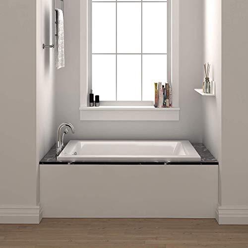 Fine Fixtures Drop In White Soaking Bathtub, Fiberglass Acrylic Material, 60