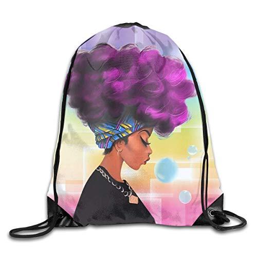 Drempad Bolsos De Gimnasio,Mochilas, Drawstring Bags African Women with Purple Hair Hairstyle Drawstring Backpack Bag Men & Women Sport Gym Sack Cinch Bag