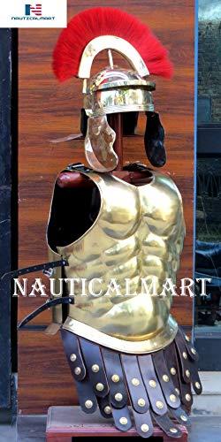 NauticalMart - Armadura muscular romana con casco centurion griego medieval armadura fantasía disfraz de Halloween