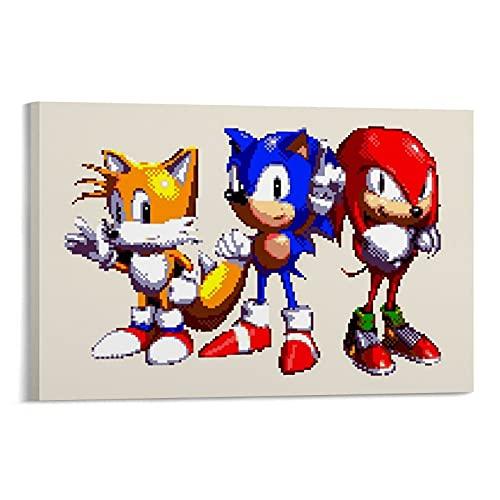 LOPOA Tails Sonic Knuckels - Poster artistico da parete, stampa artistica da parete moderna della famiglia, 40 x 60 cm