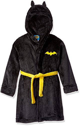 DC Comics Boys' Big Toddler Batman Hooded Robe, Black, X-Small (4/5)