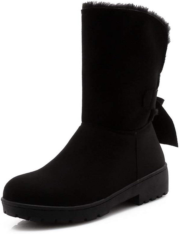 BalaMasa Womens Solid Comfort Bows Urethane Boots ABL10783