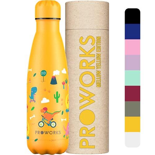 Proworks Botella de Agua Deportiva de Acero Inoxidable | Cantimplora Termo con Doble Aislamiento para 12 Horas de Bebida Caliente y 24 Horas de Bebida Fría - Libre BPA - 350ml / 500ml / 750ml