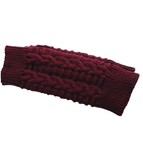 Lankater 1 Paar Winter-warme Strickfingerlos Handschuhe Handhäkelarbeit Daumenloch Armlinge Handschuhe Für Frauen Und Männer (wein Red)