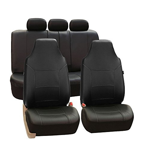 FH Group PU103115 Royal Leather Seat Covers (Black) Full Set with Gift - Universal Fit for Cars, Trucks & SUVs