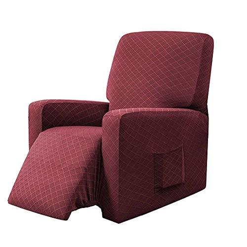 E EBETA Sessel-Überwürfe Sesselschoner, Stretchhusse für Relaxsessel Komplett, Schutzhülle aus elastischem Sessel Ohrensessel (Weinrot)