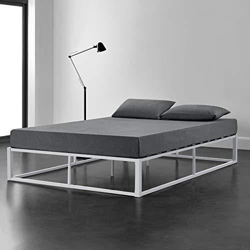 [en.casa] Metallbett 180x200cm Weiß auf Stahlrahmen mit Lattenrost Bettgestell Design Doppelbett Ehebett Schlafzimmer