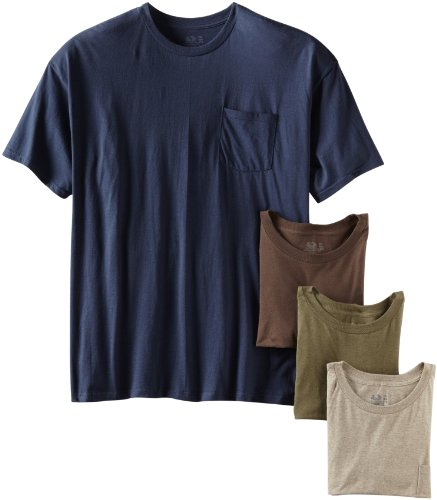 fruit of the loom Men 's playera de cuello redondo de bolsillo (Pack de 4),  Assorted Earth Tones,…