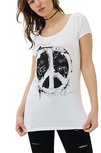 trueprodigy Casual Damen Marken T-Shirt Aufdruck Oberteil Cool Stylisch Rundhals Kurzarm Slim Fit Shirt für Frauen Bedruckt, Größe:XL, Farben:Weiß