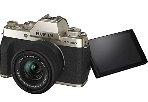 Fujifilm X-T200 24.2 MP Mirrorless Camera with XC 15-45 mm Lens (APS-C Sensor, Electronic Viewfinder, Vari-Angle LCD Touchscreen, Face/Eye AF, 4K Video Vlogging, Film Simulations) - Champagne Gold