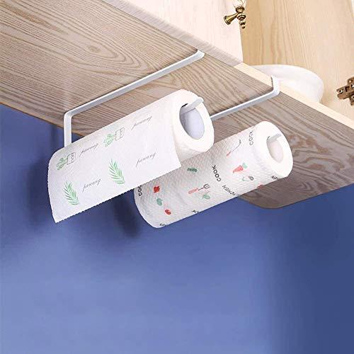 WLA Soporte para papel higiénico, 2 unidades, soporte deslizante para toallas de papel de cocina, colgador debajo del estante, no requiere herramientas, accesorios de tubo de baño blanco