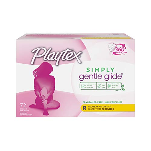 Playtex Simply Gentle Glide Unscented Regular Absorbency Tampons with 360 Protection 72 Count