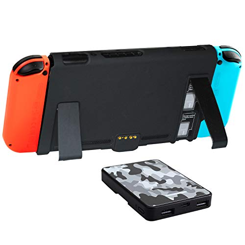 Power Bank for Switch 5000mAh Battery Charger Case Detachable Portable Backup Battery Pack Fast Charging with Back Mount kickstant Card Slots for Switch Smartphones Tablets