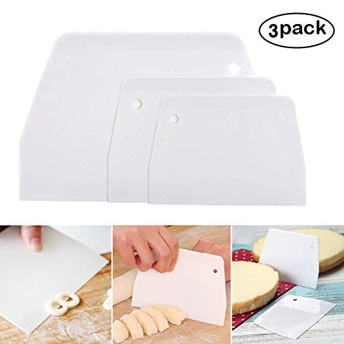 Baker Boutique Bowl Scrapers set di 3spatole multiuso in plastica curvo e righello per ciotola per robot da cucina e da cucina ciotola Raschiatura cottura pane pasta cake fondant bianco
