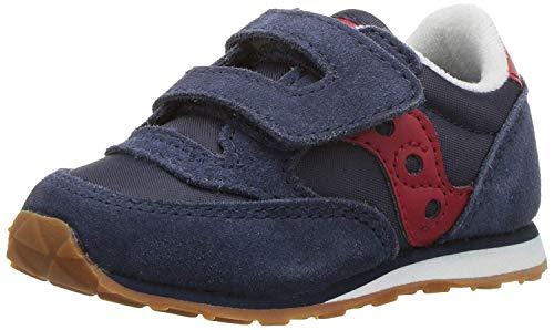 Saucony Boy's Baby Jazz Hook & Loop Sneaker, Navy RED, 8 Wide Toddler