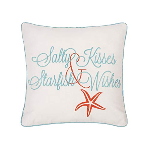 C&F Home Salty Kisses and Starfish Wish Embroidered Throw Pillow Coastal Nautical Ocean Beach Decor Accent Pillow with Saying 18 x 18 White