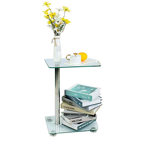 Joolihome - Mesa de Comedor Redonda de Cristal Templado Transparente con Extremo Superior de Mesa y Barra de café (90 x 75 cm), Negro, Sofa Side Table