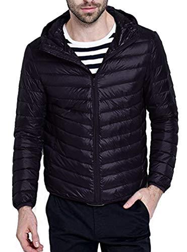 ZITY Water Repellent Jacket for Men, Packable Hooded Down Jacket,Black US XS