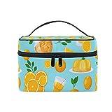 Bolsa de maquillaje con cremallera Bolsa de cosméticos Embrague Jugo de naranja Patrón de fruta Una capa Bolsa de almacenamiento de viaje portátil Bolsa Cuadrada para mujer dama