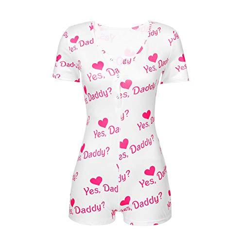Alvivi Damen Frauen Jumpsuit Sexy Bodycon Einteiler Bodysuit Overall mit Herz/Leoprd Druck Pyjama Shorty Kurz Hosenanzug Nachtwäsche Rosa Herz XL