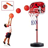 CELETOY Kids Basketball Hoop Stand, Adjustable Height 2.8 ft -6.7 ft, Mini Basketball Goal Toy with Ball & Pump, Toddler Basketball Hoop Stand for Boys Girls Toddlers Age 6 up