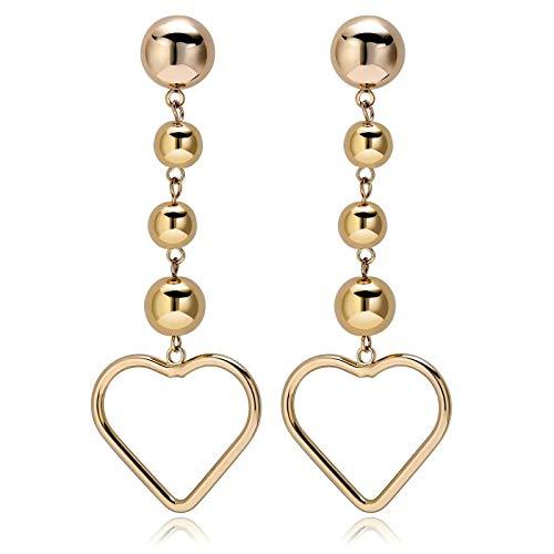 KnBob Dangle Earrings Gold Hollow Heart Balls Earrings Platinum Plated for Women