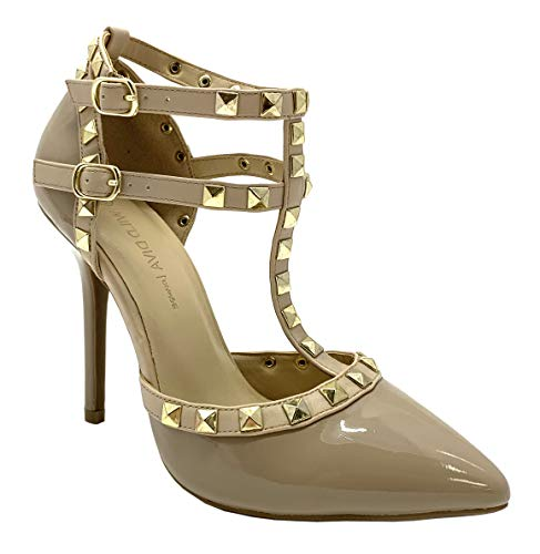 Wild Diva Pointy Toe Gold Stud Strappy Ankle T-Strap Stiletto