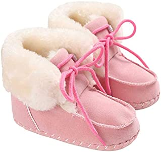 newhashiqi Zapatos De Bebé, Unisex De Invierno con Lazo para Bebés, Cálidos Zapatos para Niños Pequeños, Felpa, Antideslizante, Recién Nacidos, Niñas, Niños, Botas, Regalo Navideño para Bebés Pink*13