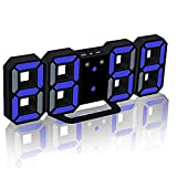 Evangel LED Digital Alarm Clock for Desk/Shelf/Tabletop, Modern Home Decoration 3D Wall Clock, Easy to Read at Night, Loud Alarm and Snooze, Big Digit Display (Black Frame, Blue Light)