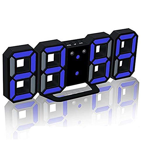 Evangel LED Digital Alarm Clock for Desk/Shelf/Tabletop, Modern Home Decoration 3D Wall Clock, Easy to Read at Night, Loud Alarm and Snooze, Big Digit Display (Black Frame, Blue Light)