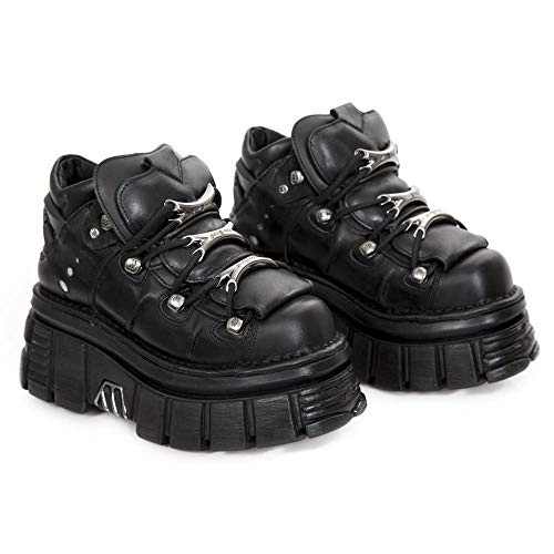 New Rock M.106-S29, Zapatos de Cordones Brogue Unisex Adulto, Negro (Negro 001), 38 EU
