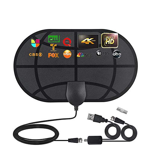 Amplified HD Digital TV Antenna, Up to 100 Miles Range, Support 4K 1080p tv Stick and All Older TV's - Indoor Smart Switch Amplifier Signal Booster, Support Free Local Channels with Coax Cable