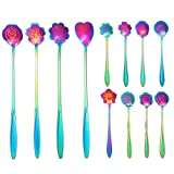 hugttt 12 Pieces Stainless Steel Flower Coffee Spoon, Stirring Spoon, Sugar Spoon, Stir Bar Spoon, Mixing Spoon, Tea Spoon, Ice Tea Spoon, Ice Cream Spoon, 9 Different Patterns, Rainbow
