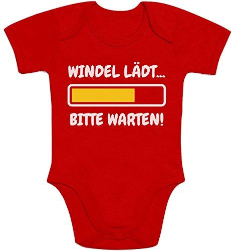 Shirtgeil Windel Lädt, Bitte Warten! - Lustige Babykleidung Baby Kurzarm Body 3-6 Monate Rot