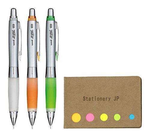 Uni Alpha Gel Shaker Mechanical Pencil Soft Grip Model 0.5 mm, 3 Color Body (White/Orange/Yellow Green), Sticky Notes Value Set
