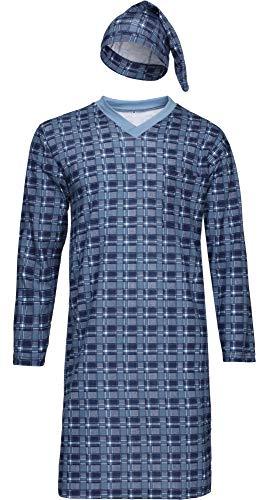Timone Herren Nachthemd mit Schlafmütze TIDR5001 (Jeans Kariert, XXL)
