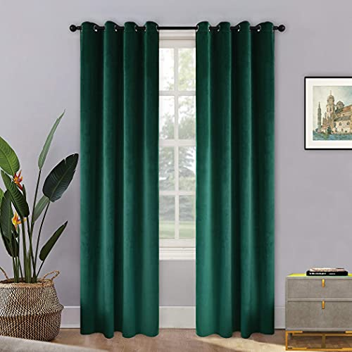 BDRS HOME Velvet Curtains for Living Room&Bedroom,Grommet Top Darkening Curtain Panels,Pack of 2,52WX84L Inches,Emerald Green