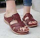 Qazw - Sandali da spiaggia da donna, comodi, non regolabili, con cinturino alla caviglia, con zeppa e cinturino incrociato, antiscivolo, colore: bordeauxy-40