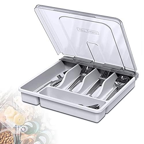 HIMAugbo Bandeja para cubiertos con tapa, portatil para cajones, cuchillos, tenedores, cucharas, cubertería, para camping, viajes, 30 x 30 x 7 cm, color blanco