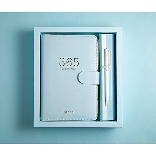 Exquisita caja de regalo de manual, cuaderno de cuero con plan de horario de 365 días, regalo de notas de estudio de contabilidad(Color:B)