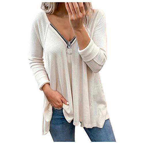 L9WEI Damen Elegant Blusen V-Ausschnitt T-Shirt mit Reißverschluss Langarm Tops Basic Shirts Mode Oberteile Langarm Freizeit Sweatshirt