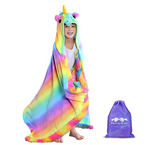 RIBANDS HOME Hooded Unicorn Blanket| Silky Soft Wearable Hoodie Blanket for Kids, Toddlers, Children| Animal Hoodie Cloak, Throw Blanket w/Horn & Mane| Rainbow & Stars Variations - Primitive Rainbow