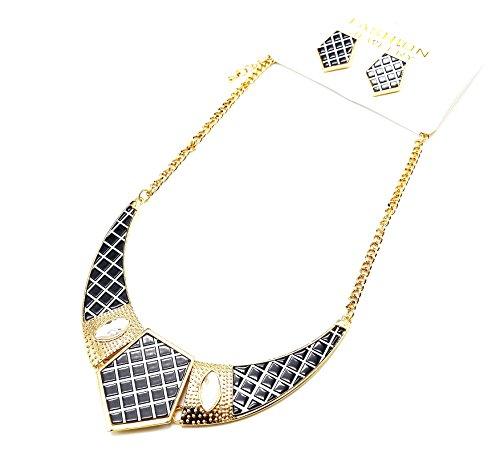 BO/PA105-Parure collana con pettorina, punta a quadretti, motivo trapuntato, colore: nero e Dorato,...