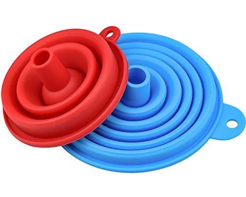 Zaleonline Embudo de Silicona Plegable 2 Juegos Embudo de Plegable de Silicona Apto para Alimentos Transferencia líquida embudos de Cocina Flexibles y Plegables pequeño y Grande