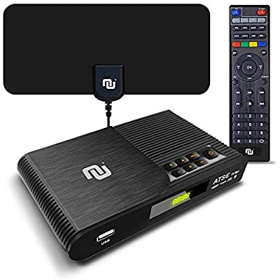 TV Converter Box Digital to Analog ATSC Streaming Media Players PVR DVR Recorder w. 35 Miles Over The Air HD Antenna & Amplifier, Upgraded Remote w. TV Control Buttons (2020 Version)