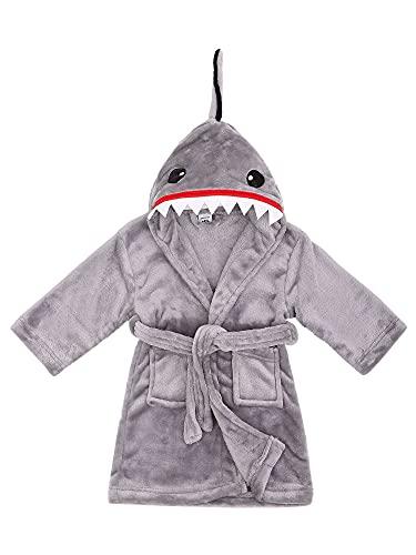 Thick Baby Robe Fluffy Toddler Robe Warm Kids Robe Boys Robe Shark Robe Soft Hooded Fleece Bathrobe, Shark Grey, S(1-3 Years)