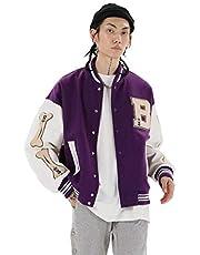 Vintage Streetwear Baseball Jacket, Unisex College Jacket Varsity Jacket, Oversized Patchwork Sports Coat, Pu Leather Stitching Jacket Button Down with Hidden Mobile Pocket