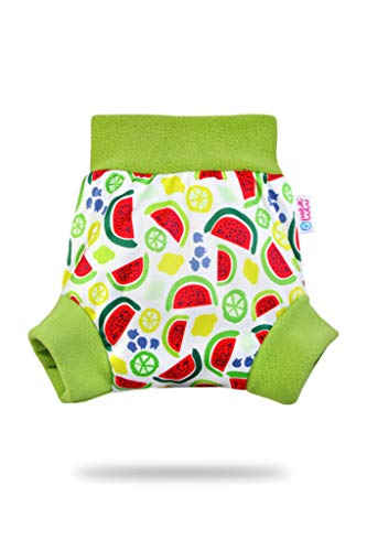 Pull Up Cover Petit Lulu | Taglia L | Con Bordi In Pile | Riutilizzabile e lavabile | Pannolini lavabili | Pannolino di stoffa | Prodotto in Europa (Watermelon)